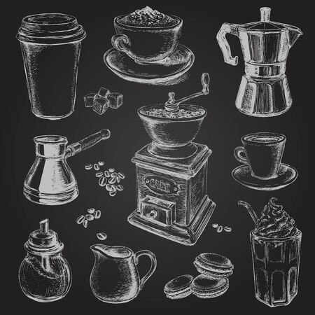 Hand Drawn Set Coffee Vector illustration Hand Drawn Set Coffee Vector illustration