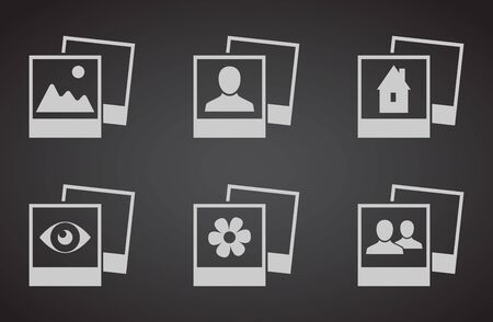 set photo frame photograph vector icons