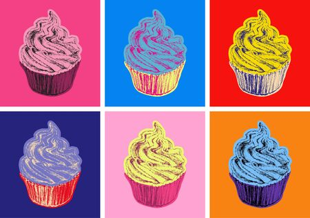 Set of Cupcake Vector Illustration Pop Art Style 矢量图像