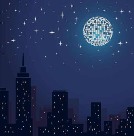 Disco Ball Vector lltustration. Night Party Sityscape Background. Nightlife.