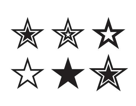 Star icons. Vector symbols star isolated on white background. Dallas Star. Design template. 矢量图像