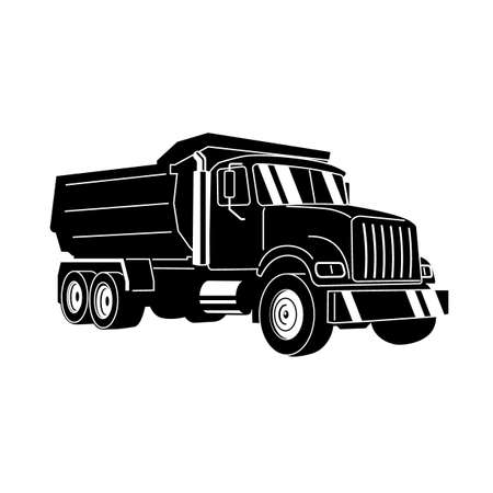 Vector Cartoon Dump Truck. Tipper truck.