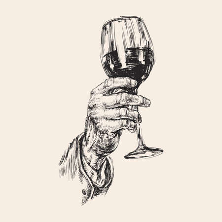 Hand Holds a Wine Glass. Alcoholic Drink. Hand Drawing Vector Illustration