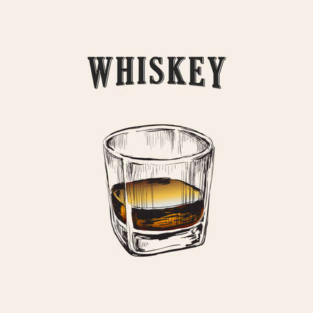 Whiskey Glass Hand Drawn Drink Illustration