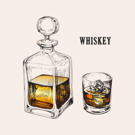 Whiskey Bottle and Glass. Hand Drawn Drink Vector Illustration 矢量图像