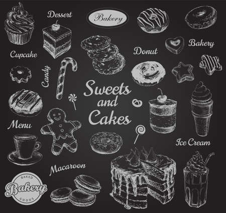 Hand Drawn Set Sweets Dessert Coffee Vector illustration