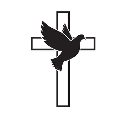 Dove flying with a Symbol of Religion. Cross. Dove Of Peace. Vector illustration. Holy Spirit