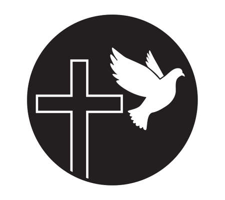 Dove flying with a Symbol of Religion. Cross. Dove Of Peace. Vector. Holy Spirit. Church .