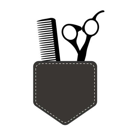 Hair Stylist Tools . Beauty Haircut Salon. Barber Scissors Comb. Vector Template Design. 矢量图像