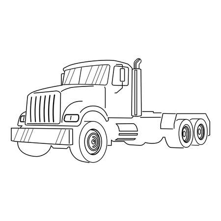 Semi Truck. Vector Outline Lorry. Freight transportation. Modern flat vector illustration 矢量图像