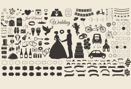 Set of Wedding Marriage, Bridal Invitation Vintage Design Elements, Designers Toolkit 矢量图像