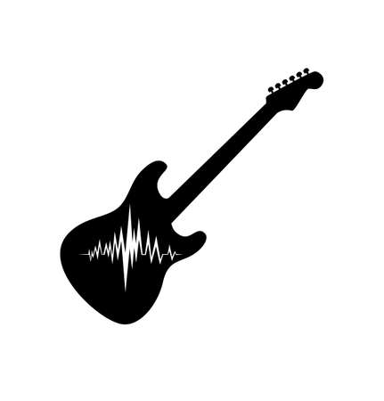 Electric Guitar with Musical Wave. Vector Silhouette Template Design.