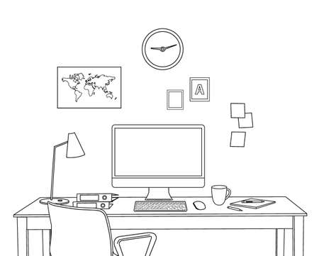 Sketch Modern Home Office Interior. Freelancer Workplace.