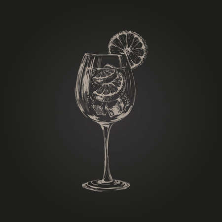 Spritz Hand Drawn Summer Cocktail Drink Vector Illustration