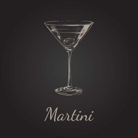 Sketch Martini Cocktails with Olives Vector Hand Drawn Illustration