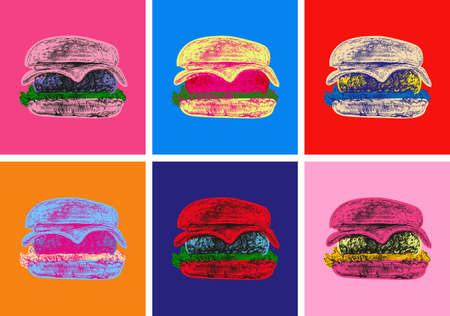 Set Burger Illustration Pop Art Style 矢量图像