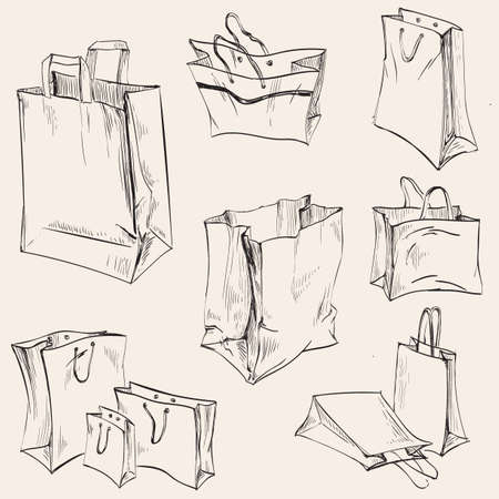 Set Shopping Paper Bags Crumpled Vector Illustration. 矢量图像
