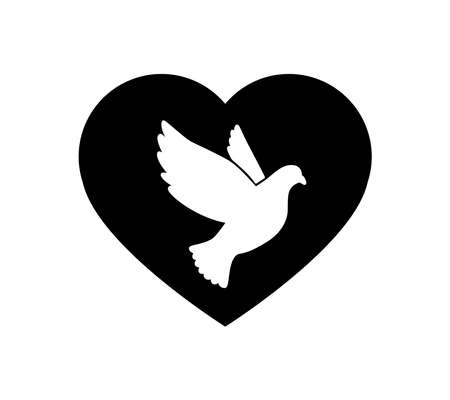 Black Silhouette of Flying Dove with Heart Vector Icon Template