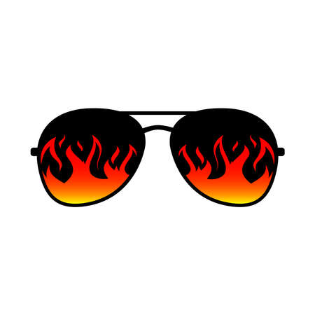 Sunglasses Fire Flames Lens. Vector Template Design.