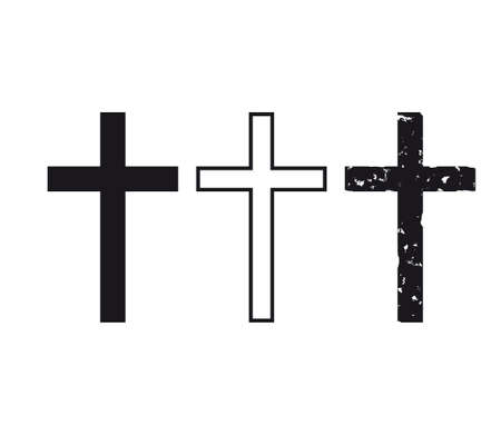 Set of hand-drawn black grunge cross icons, collection of simple Christian cross signs,