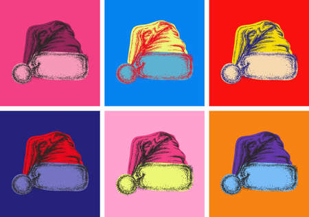 Santa Claus Hat Isolated Hand Drawn Vector llustration Sketch Pop Art Style