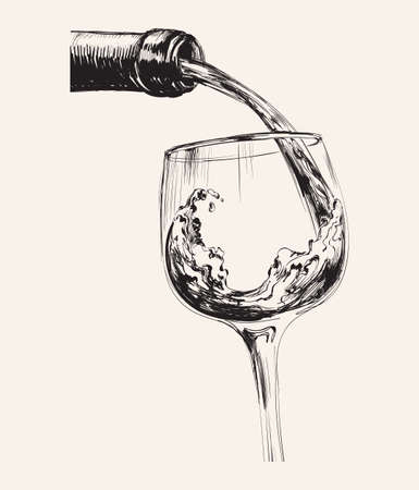 A Stream of Wine. Bottle And Glass. Hand Drawn Sketch Vector illustration.