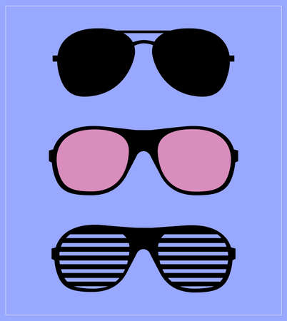 Set of Sunglasses. Vector Illustration Glasses Hipster. Template.