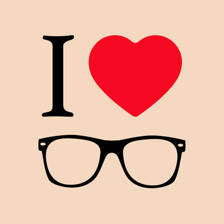 Geek Glasses. Print I love sunglasses illustration. Illusztráció