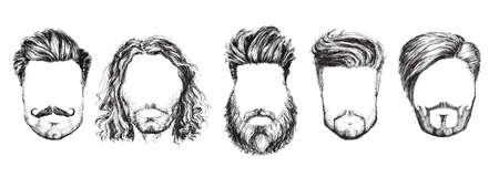 Hair and Beards, Fashion Vector Illustration Set