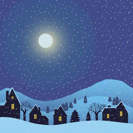 Winter Landscape Village night background. Vector illustration