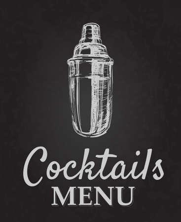 Cocktail Menu Design Chalk drawing typography