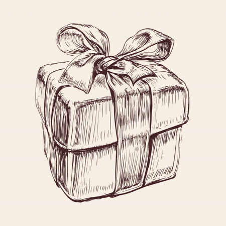 Gift Box Hand Drawn Vector Illustration. Christmas. Birthday