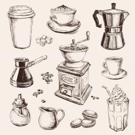 Hand Drawn Set Coffee Vector illustration Vecteurs