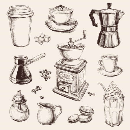 Hand Drawn Set Coffee Vector illustration Vetores