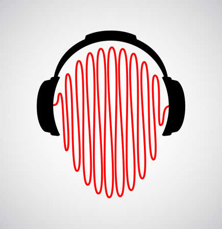 Dj Headphones Icon With Sound Waves Vector Flat Template