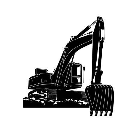Crawler Excavator Modern Flat Vector Illustration Vettoriali