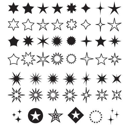 Star Shapes Symbol Icon Vector Illustration. Sparkles, shining burst.