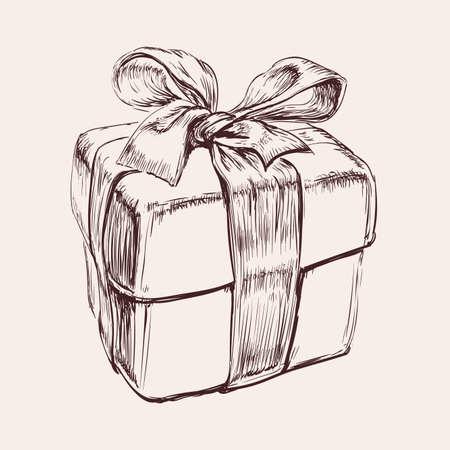 Gift Box Hand Drawn Vector Illustration. Birthday. Xmas. Christmas. 矢量图像