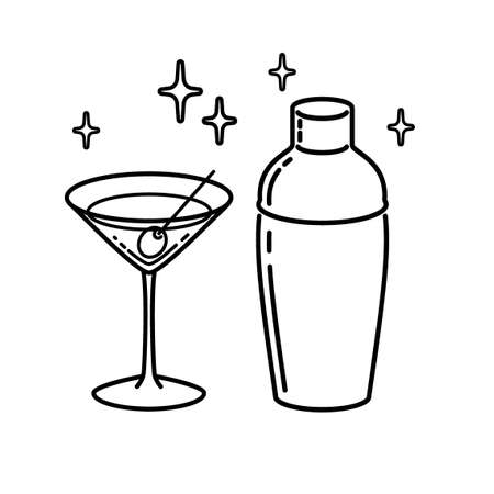 Martini Glass With Olive Shaker Outline. Icon Vector Illustration. Illustration