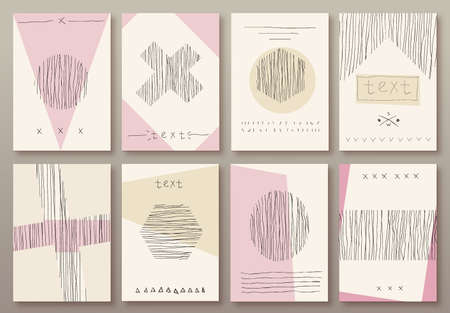 Set of cards with hand drawn textures vector template background