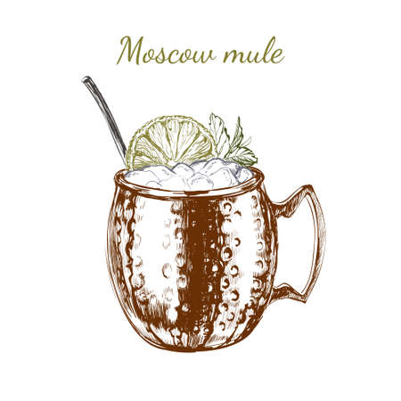 Moscow Mule Hand Drawn Drink Vector Illustration