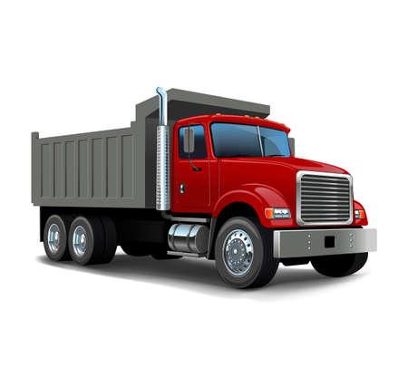 Vector Cartoon Dump Truck. Tipper truck.