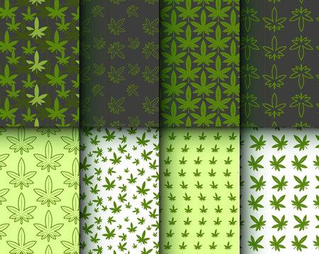 Marijuana Green leaf. Seamless Pattern. Ganja. Drug. Hemp marijuana hemp leaves Set Background Vecteurs