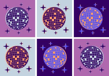Disco Ball Illustration Pop Art Style Party