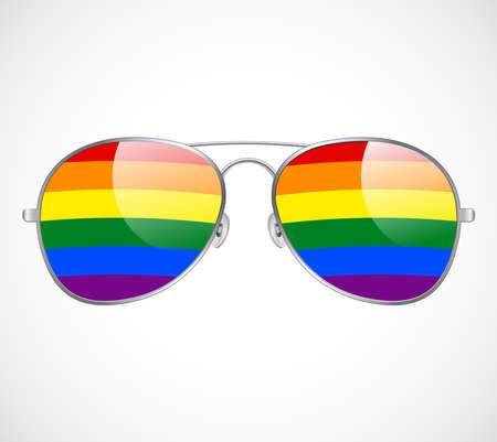 Sunglasses Aviator Abstract Rainbow lenses Vector Illustration Background. LGBT
