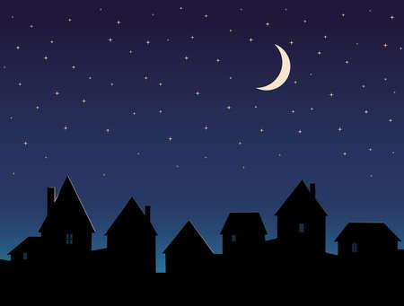 Silhouette City Night Sky Stars and Moon