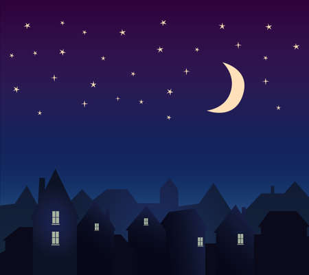 Silhouette of the city and night sky with stars and moon Иллюстрация