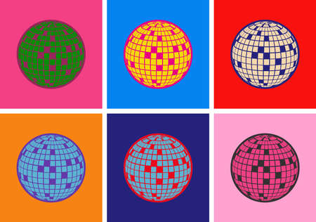 Disco ball Vector icon Pop Art Style Иллюстрация