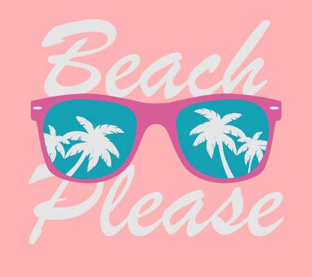 Sunglasses with Palms Reflection. Sunglasses Vector. Sunglasses illustration Background Beach Please. Иллюстрация