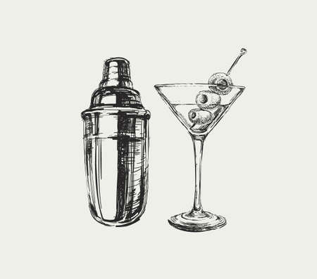 Sketch Martini Cocktails with Olives and Shaker Vector Hand Drawn Illustration Drinks